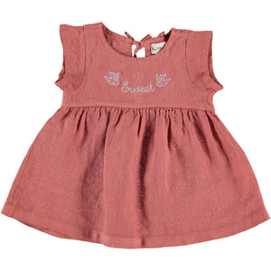 My Little Cozmo Saona Linen Dress - Carnelian
