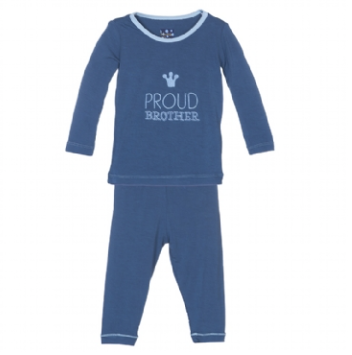 Kickee Pants Proud Brother Applique Pajama Set