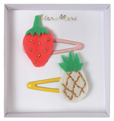 Pineapple and Strawberry Hair Clips
