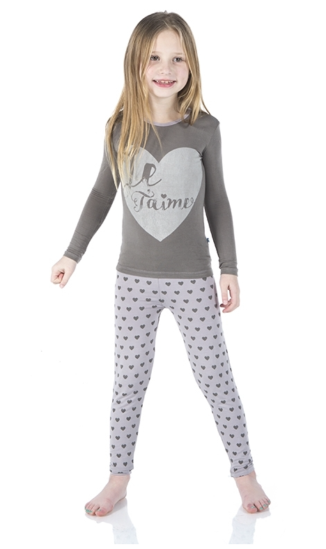 Kickee Pants Long Sleeve Feather Hearts Pajama Set