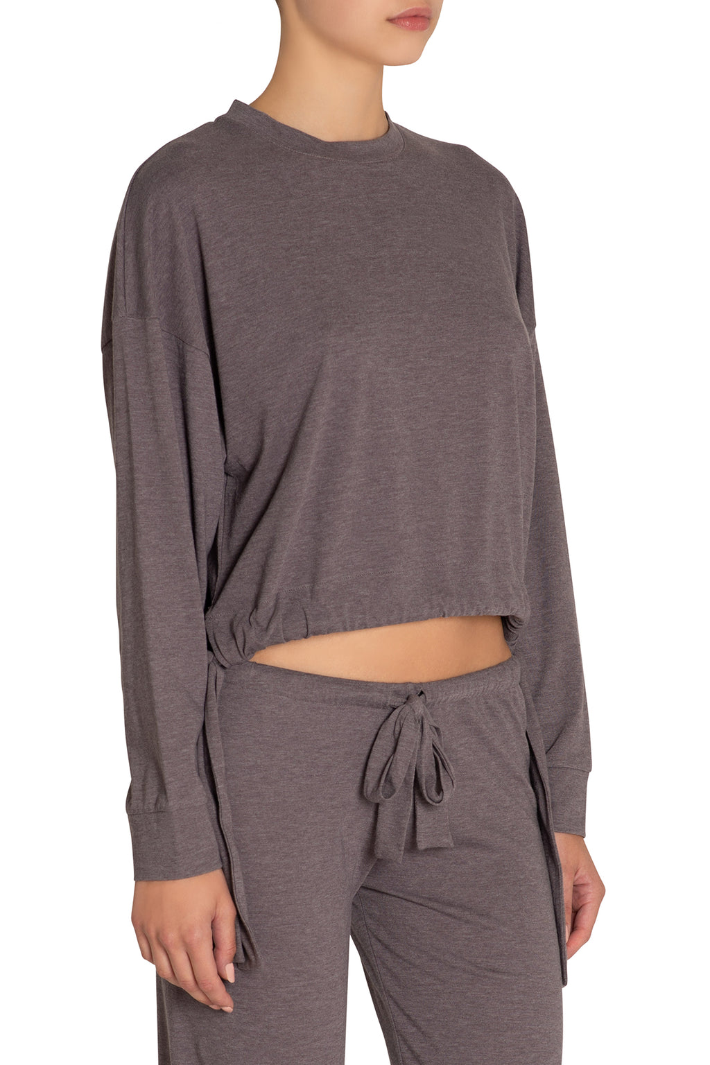 Eberjey Heather Side Tie Sweatshirt - Rabbit