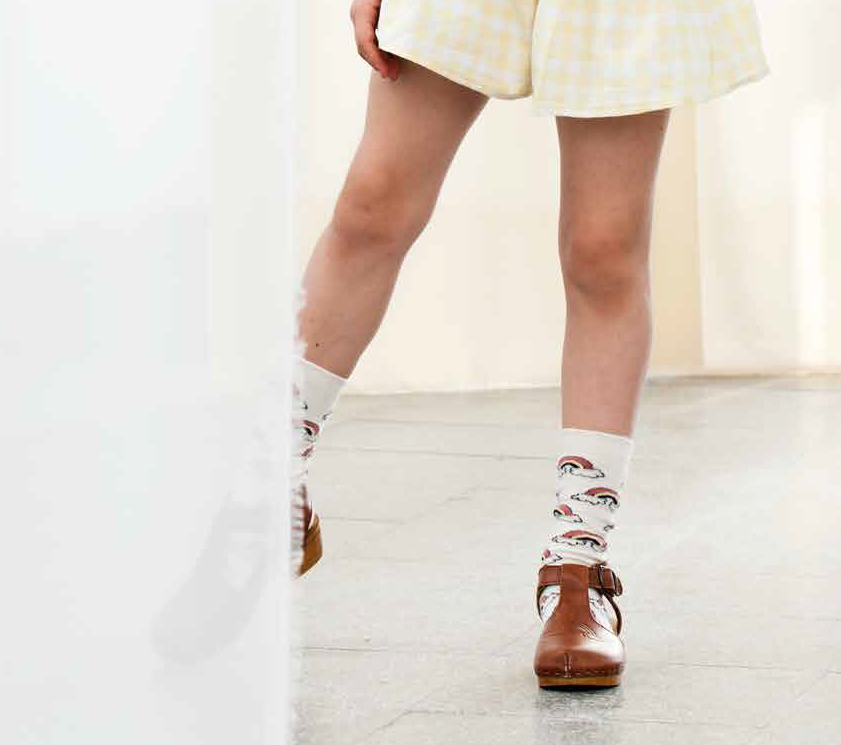 Tocoto Vintage Long Socks - Off White/Rainbow