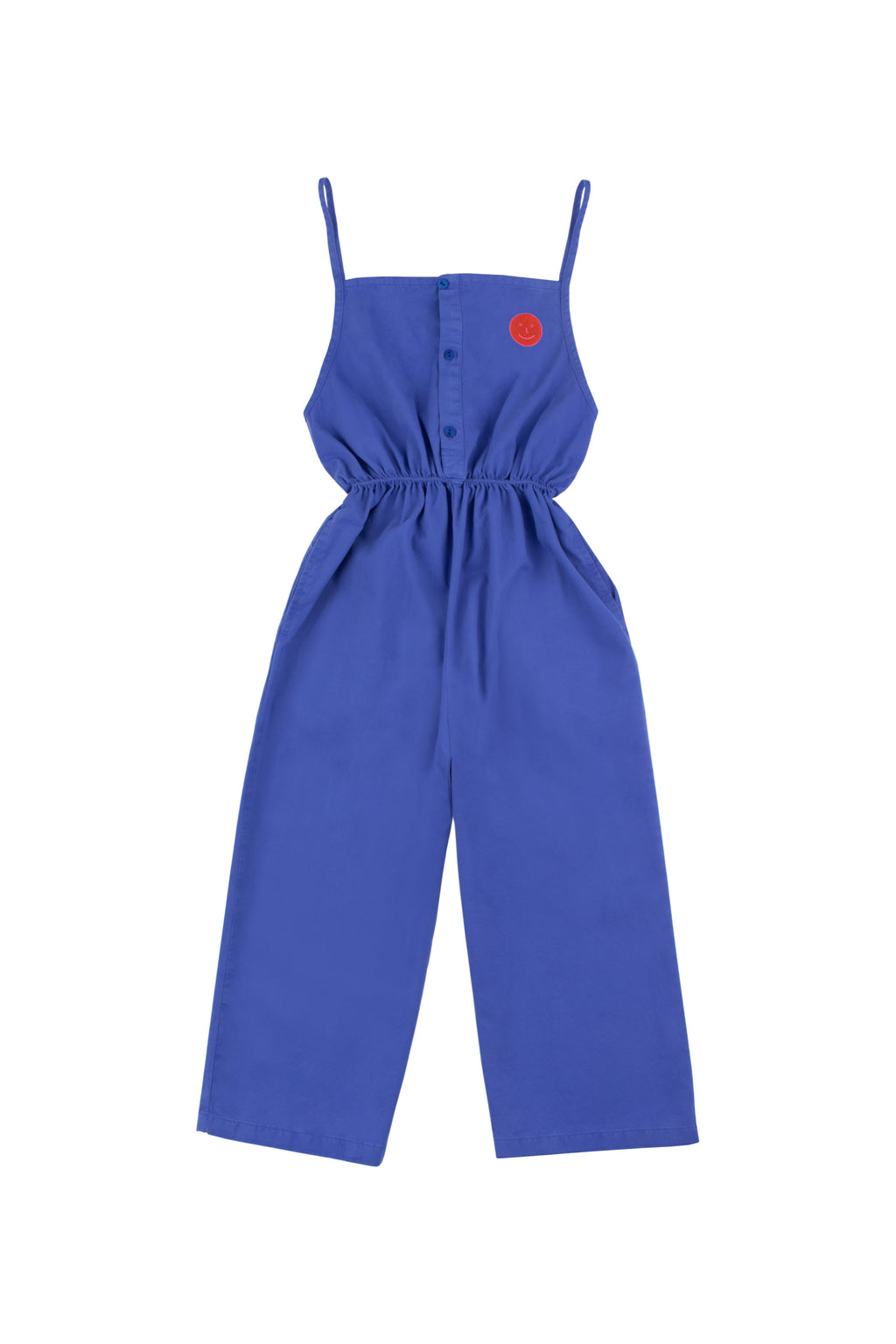 Tiny Cottons Happy Face Braces Long Jumpsuit - Ultramarine/red