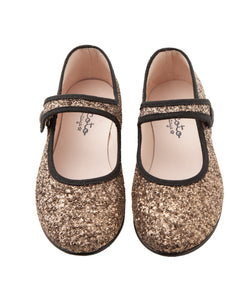 Tocoto Vintage Glittery Mary Jane Shoes - Gold