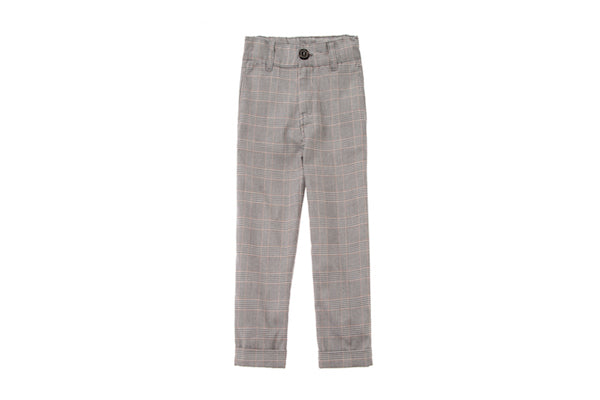 Tocoto Vintage Kid Plaid Trousers - Grey