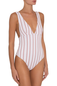 Eberjey Summer Stripes Vivian One Piece - Ecru/Redwood