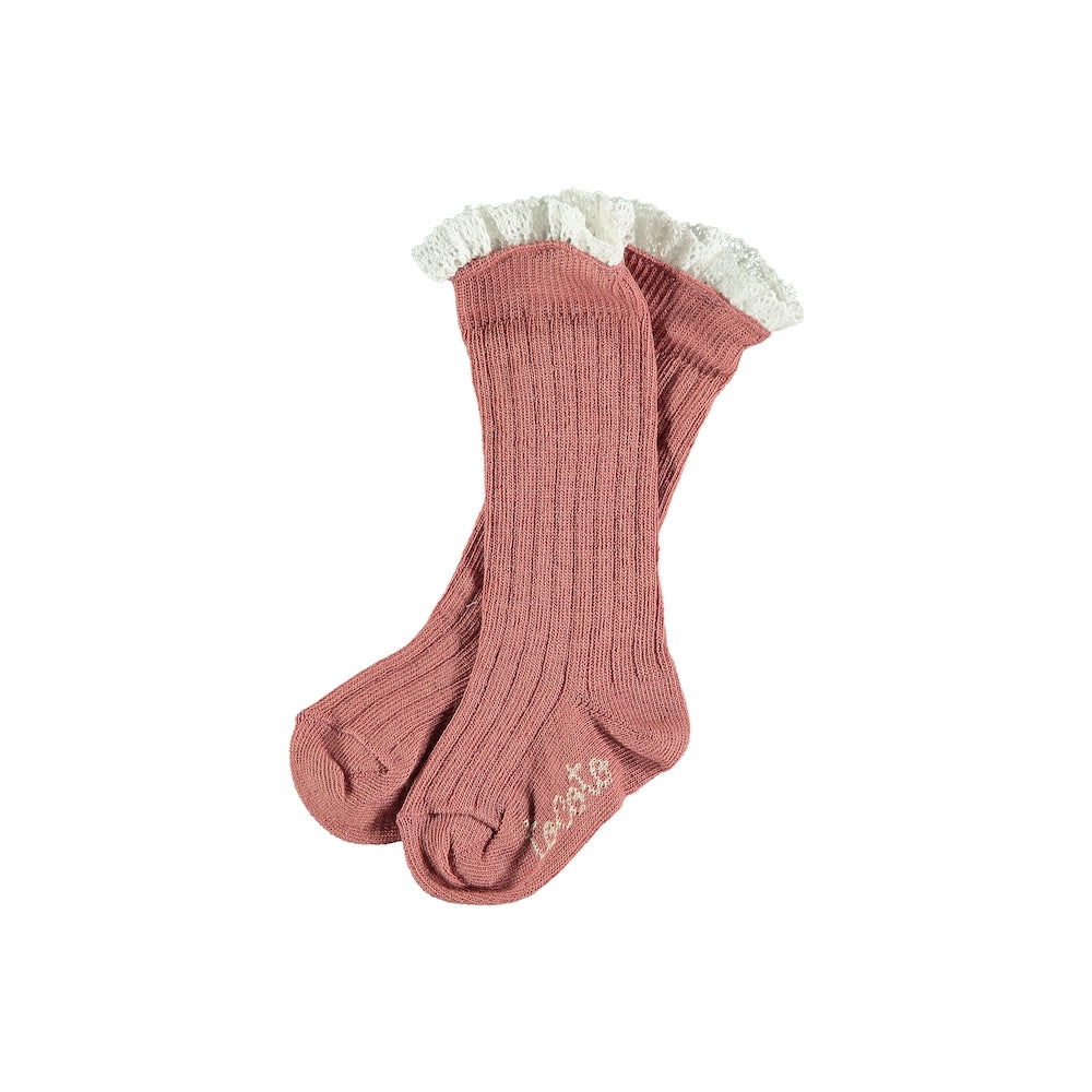 Tocoto Vintage Rib Socks with Lace - Pink