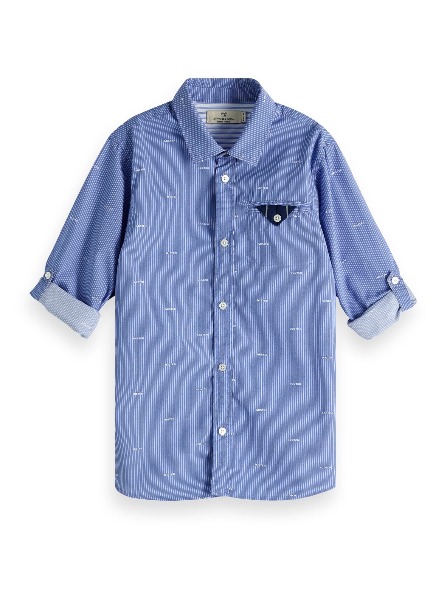 Scotch Shrunk Blue Collared Long Sleeve Shirt