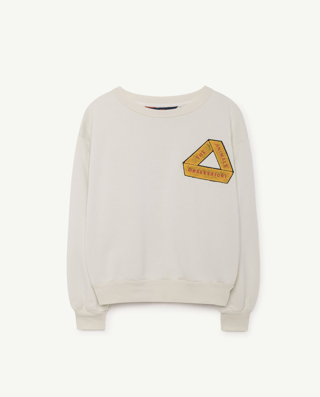 The Animals Observatory Bear Sweater - White/Yellow triangle