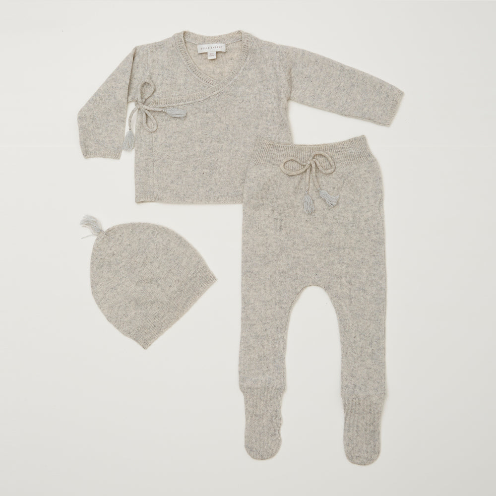 Belle Enfant Wrap Top with Leggings & Tassel Hat - Grey Marl