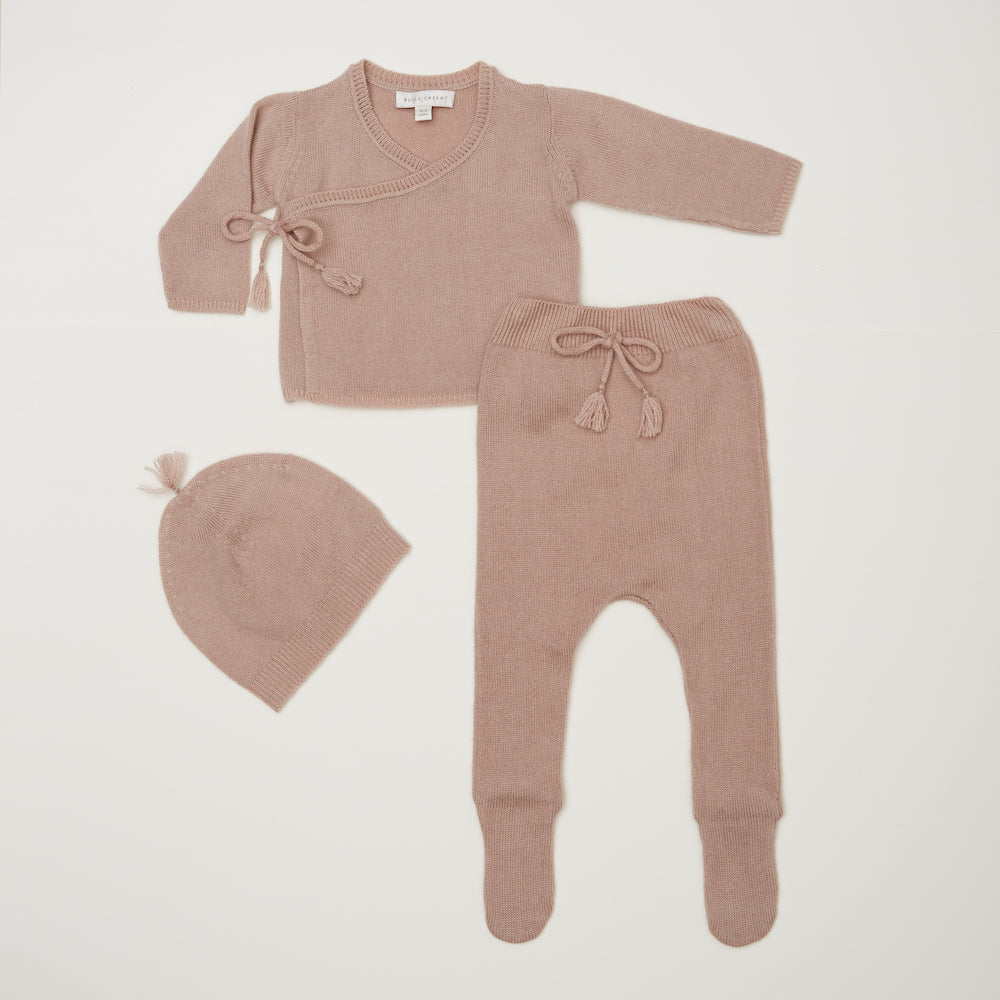 Belle Enfant Wrap Top with Leggings & Tassel Hat - Rose