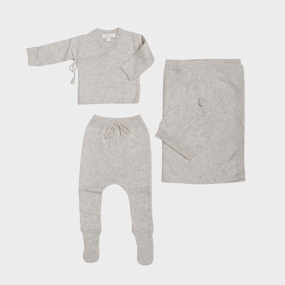 Belle Enfant Wrap Top with Leggings, Tassel Hat & Blanket - Silver Grey Marl