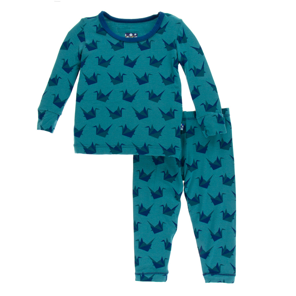 Kickee Pants Print Long Sleeve Pajama Set - Seagrass Origami Crane