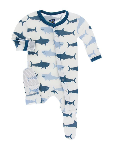 Kickee Pants Print Footie with Snaps - Natural Megalodon