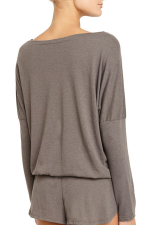 Eberjey Heather Slouchy Tee - Light Charcoal