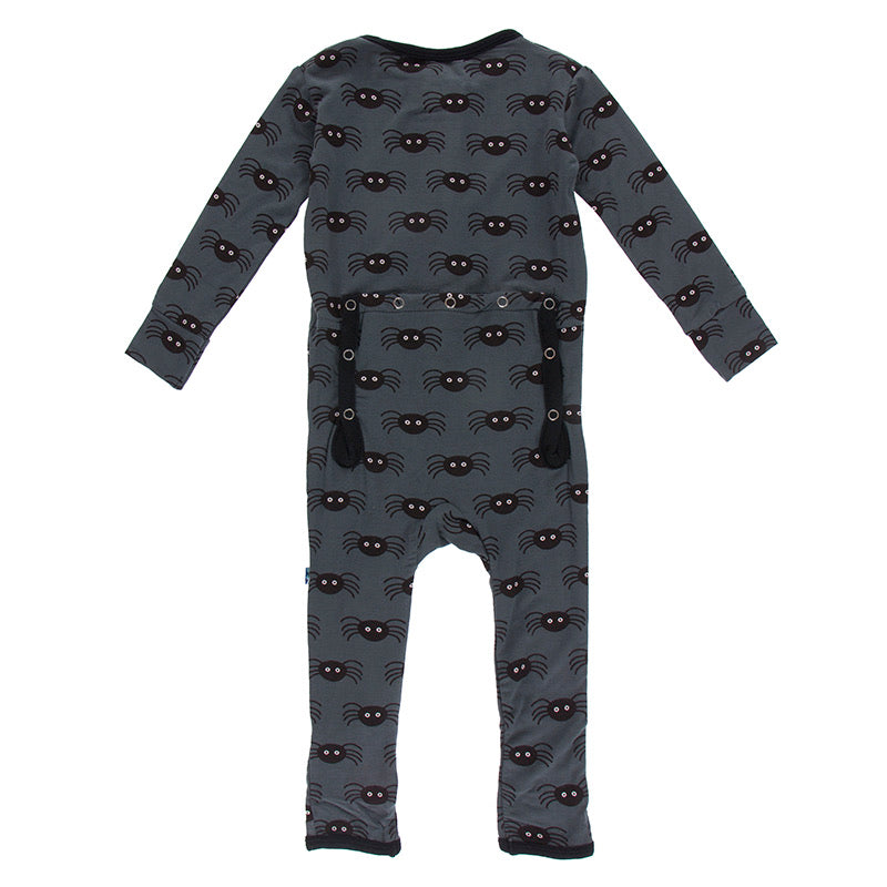 Kickee Pants Print Coverall with Zipper - Stone Spiders