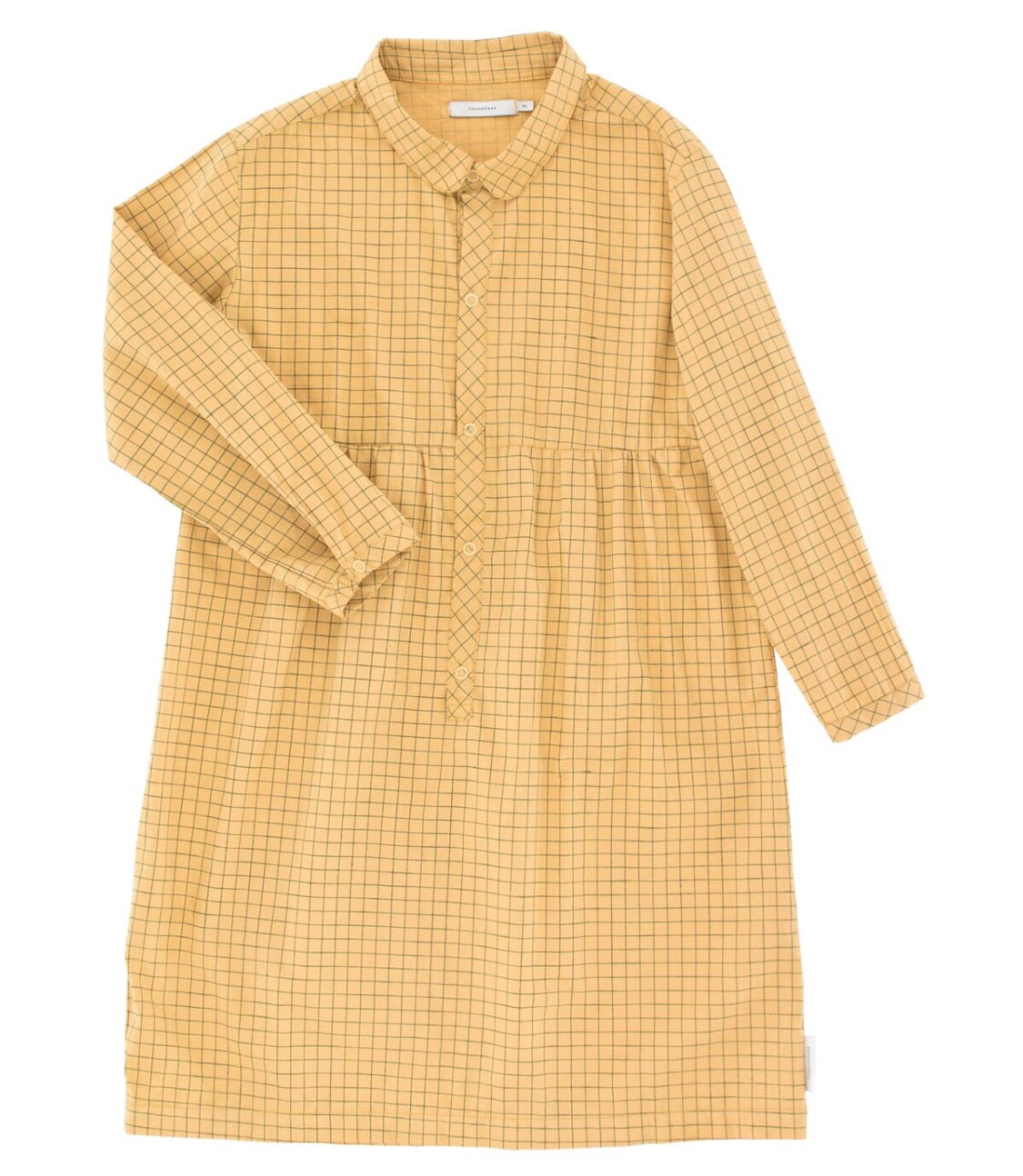 Tiny Cottons Grid Dress - Sand/Dark Green