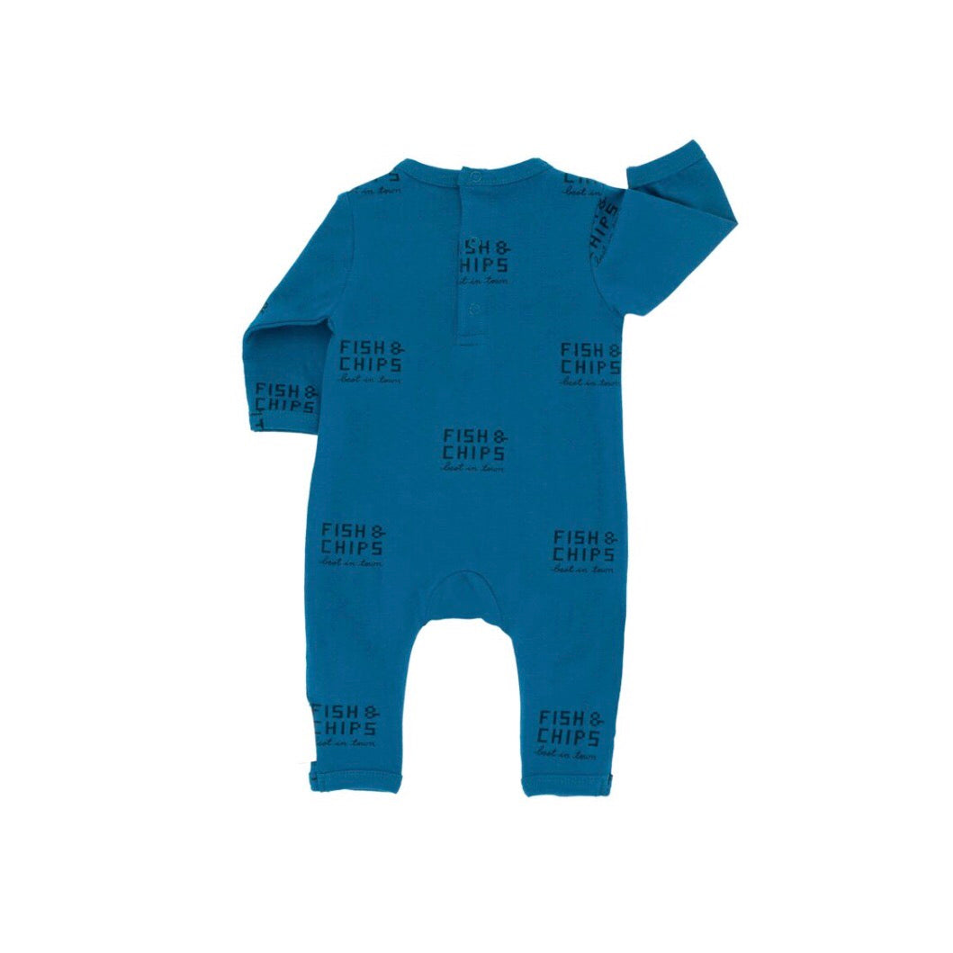 Tiny Cottons Fish and Chips One-Piece - Light Navy/Navy
