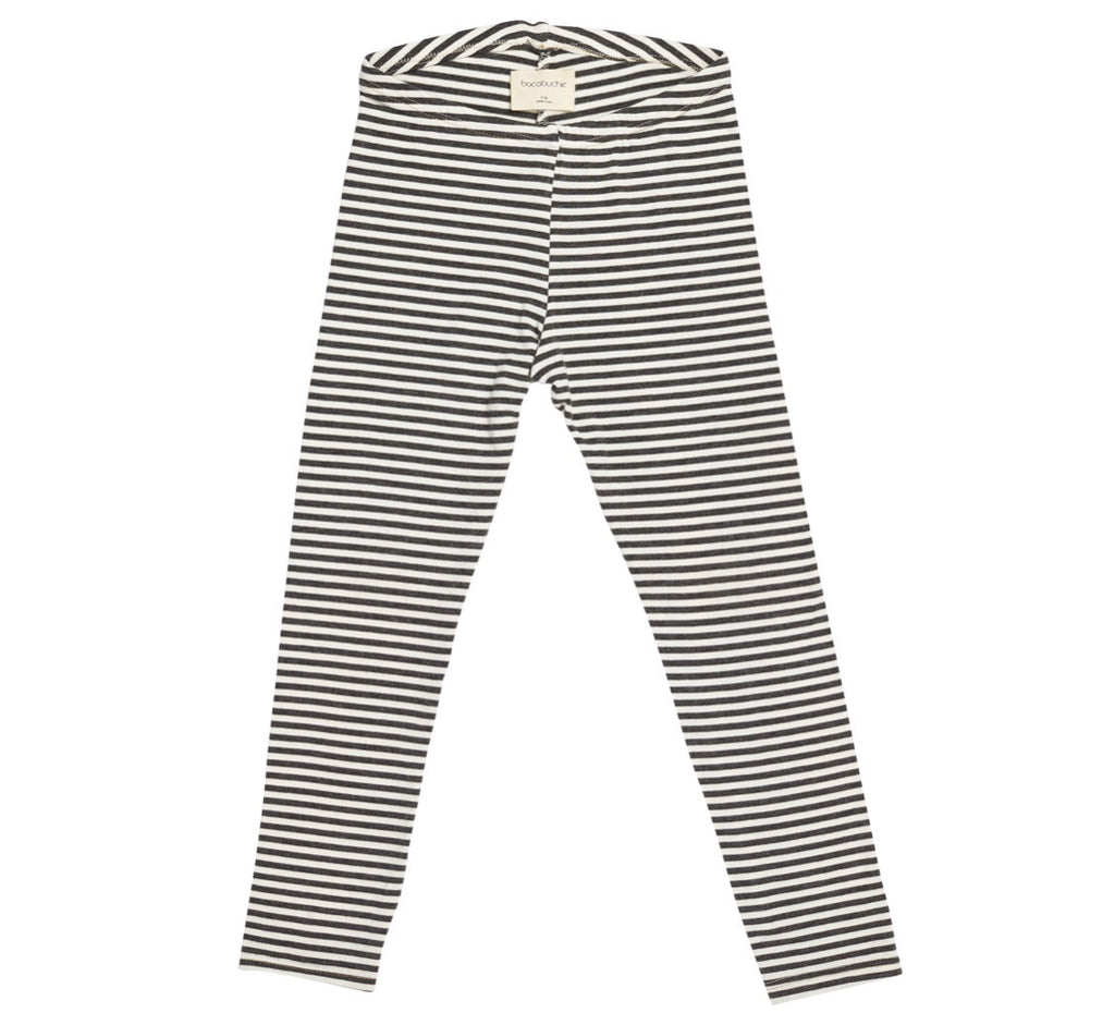 Bacabuche Core Legging - Charcoal/Ivory Stripe