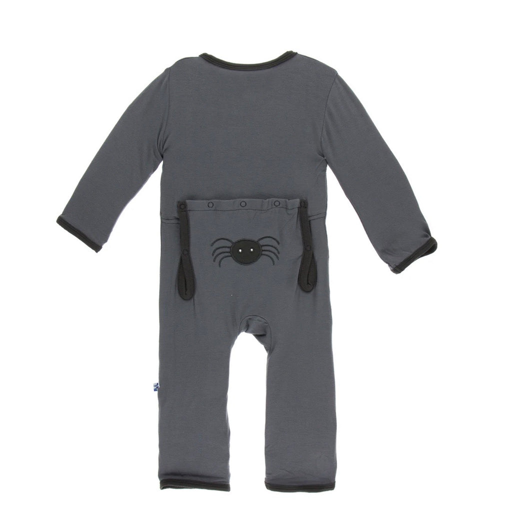 Kickee Pants Applique Coverall - Stone Spiders