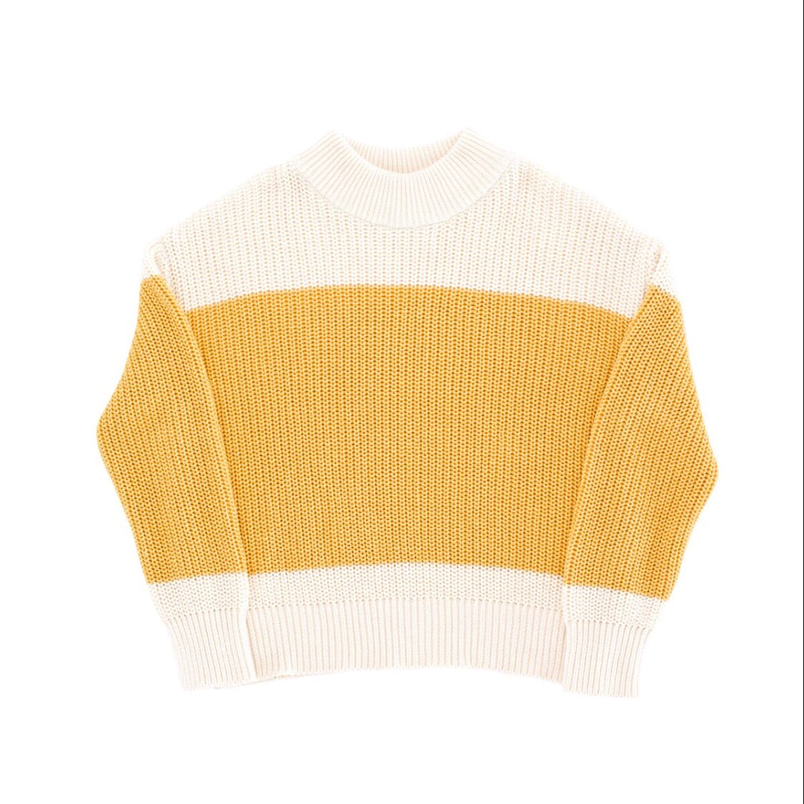 Tiny Cottons Color Block Knit Sweater - Beige/Sand