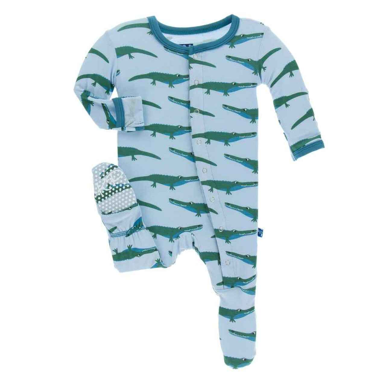 Kickee Pants Print Footie with Snaps - Pond Crocodile