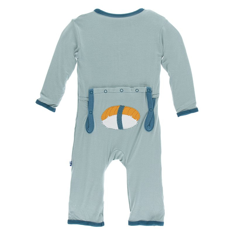 Kickee Pants Applique Coverall with Zipper - Jade Sushi