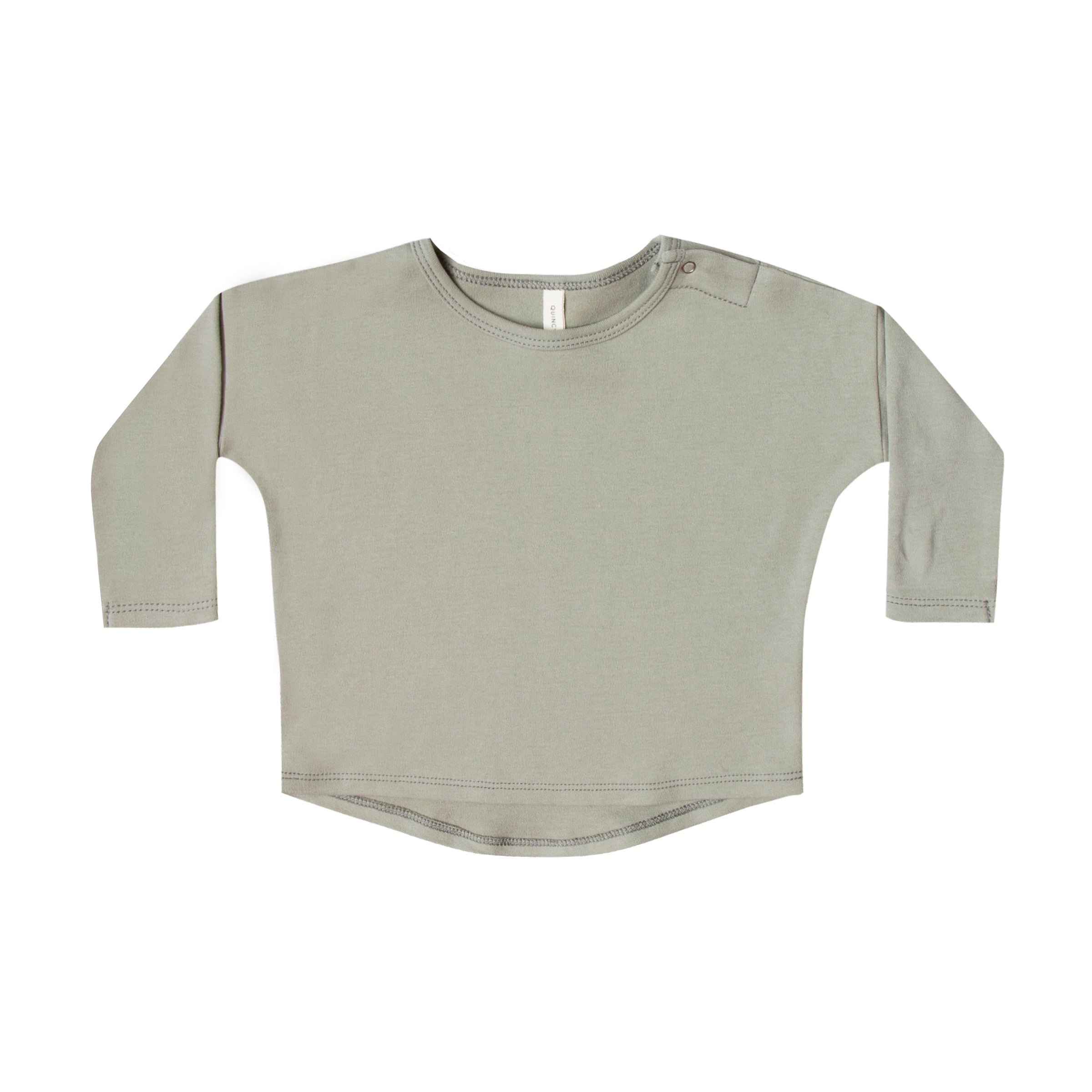 Quincy Mae Organic Long Sleeve Brushed Jersey Tee - Sage