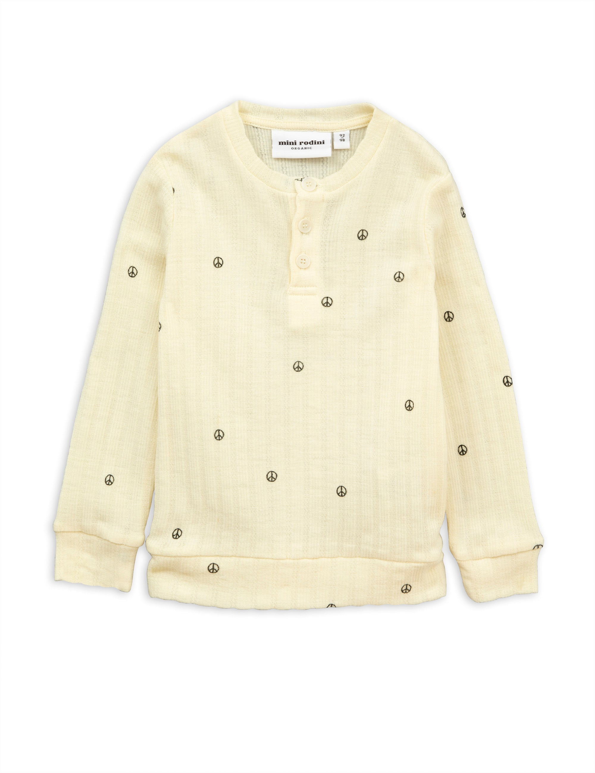Mini Rodini Peace Pointelle Grandpa Wool Shirt