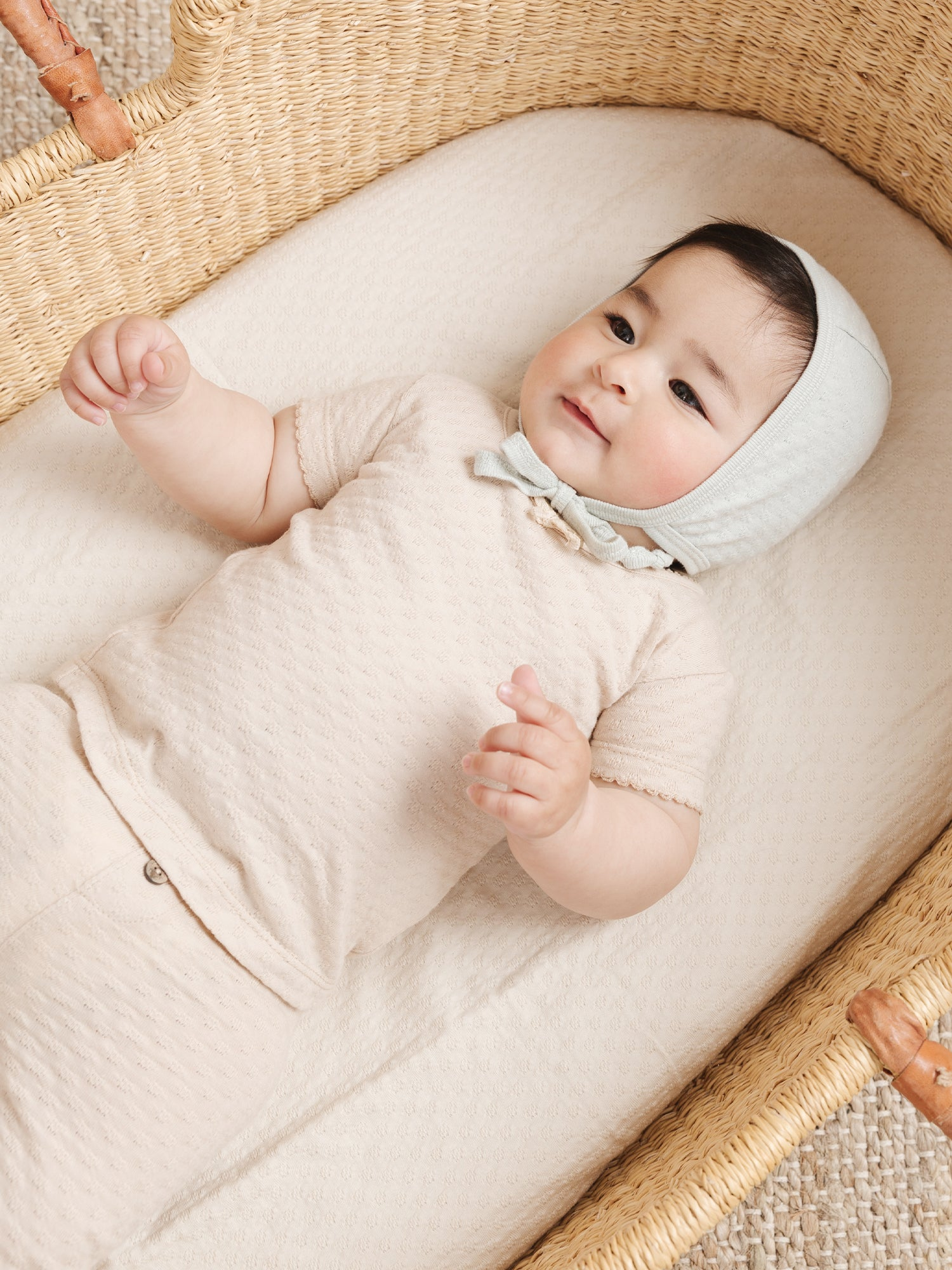 Quincy Mae Pointelle Baby Bonnet - Natural
