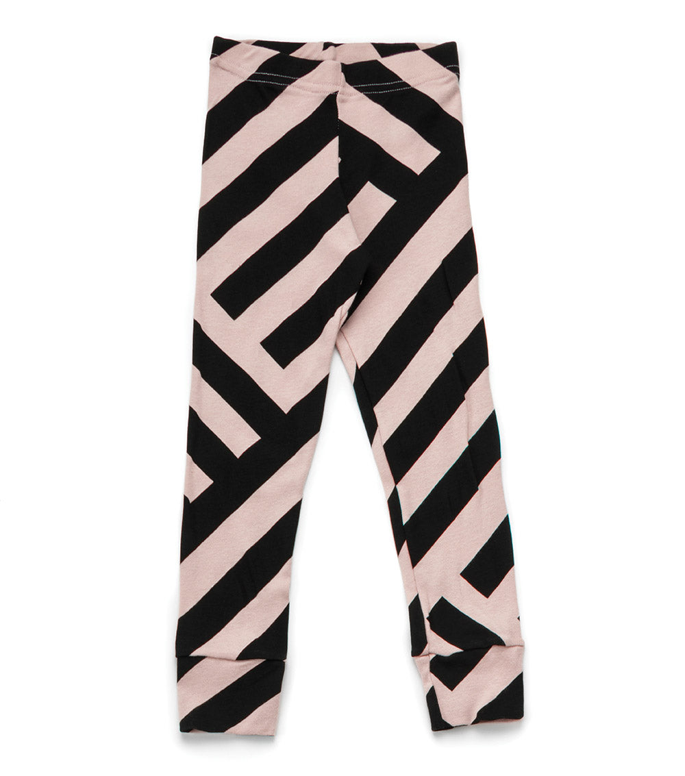 Nununu Striped Leggings - Powder Pink