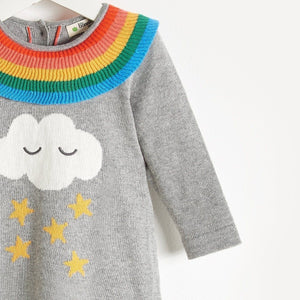 Bonnie Mob Cashmere Blend Rainbow Frill Dress - Grey