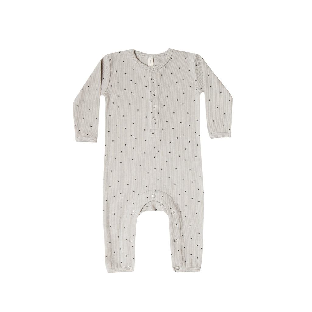 Quincy Mae Organic Ribbed Baby Jumpsuit - Dove