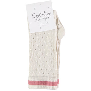 Tocoto Vintage Socks with Stripe - Pink