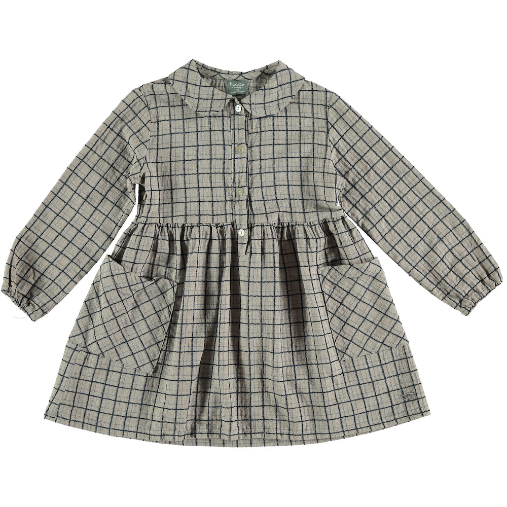 Tocoto Vintage Checkered Dress - Grey