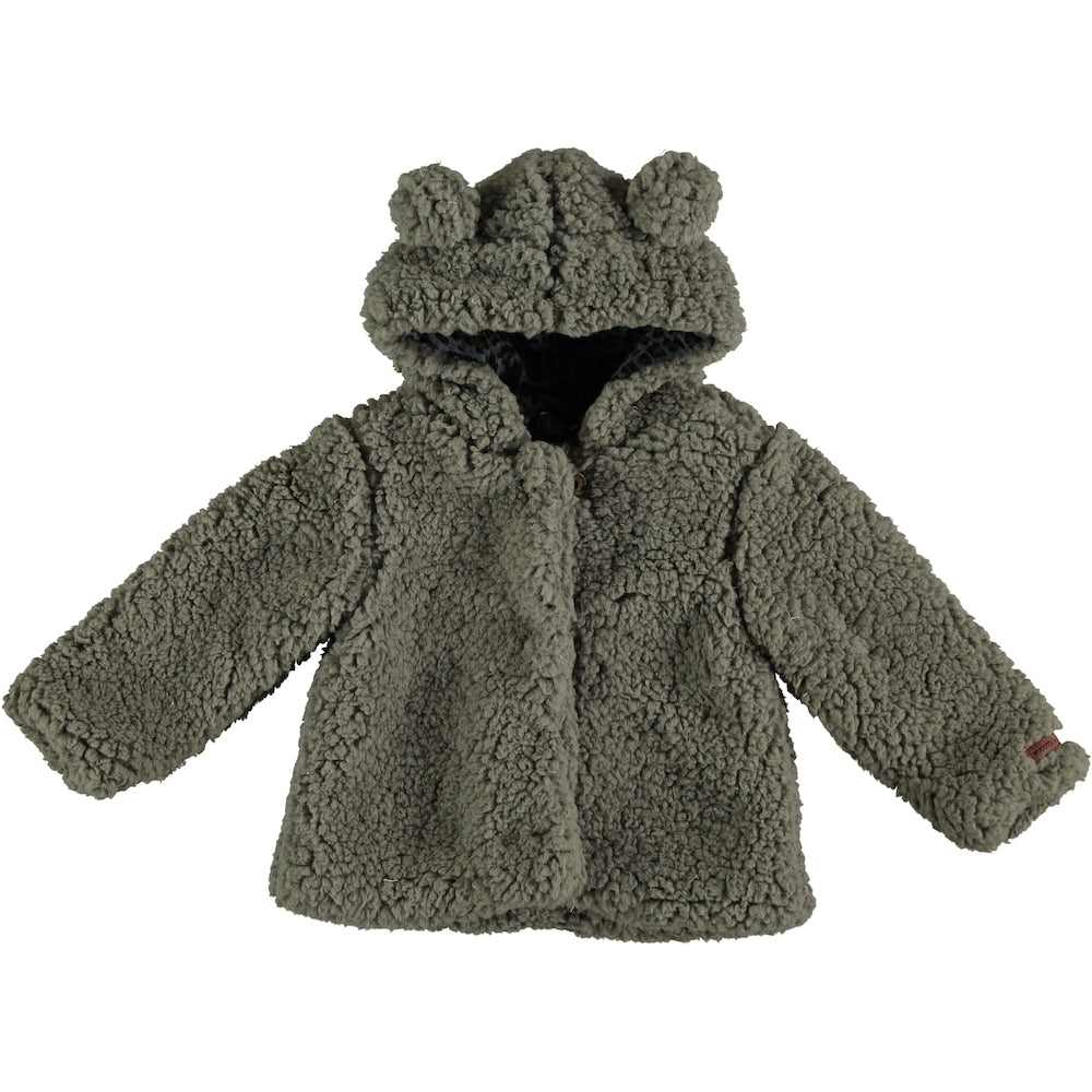 Tocoto Vintage Hood Faux Fur Coat - Grey