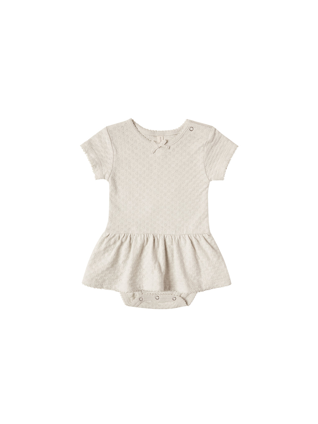Quincy Mae Pointelle Skirted Onesie - Natural