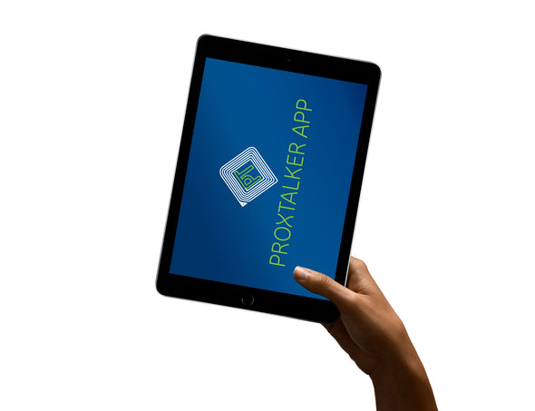 ProxTalker App title screen on iPad