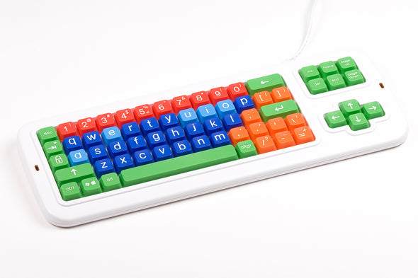 Computer Keyboard with different color keys and lower case letters