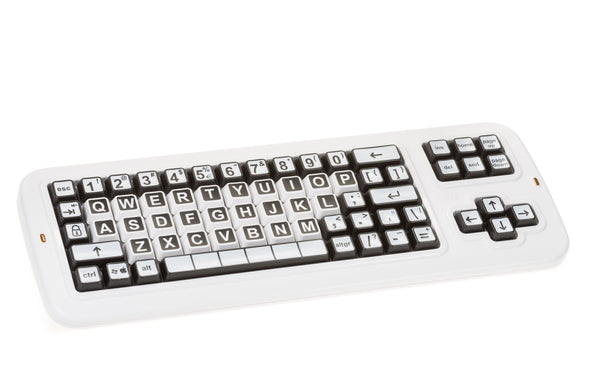 Clevy keyboard with black and white contrast keys