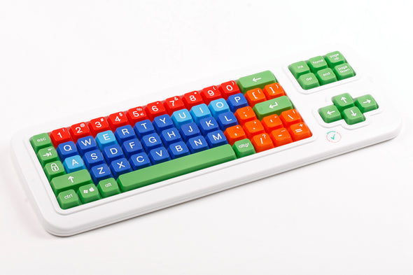 Computer Keyboard with different color keys and upeer case letters