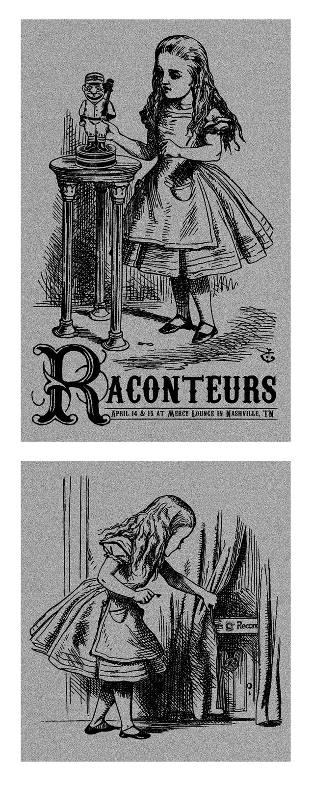 The Raconteurs Nashville 2008 Set of 2 Handbills Metallic Silver