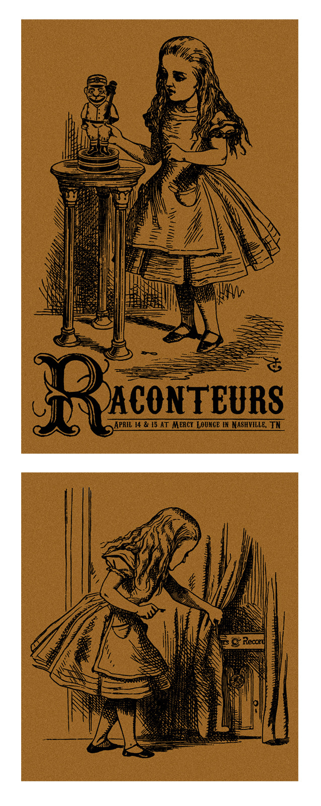 The Raconteurs Nashville 2008 Set of 2 Handbills Metallic Copper