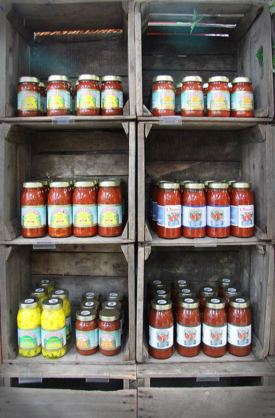 shelves of sauces at Taylors Farm Market
