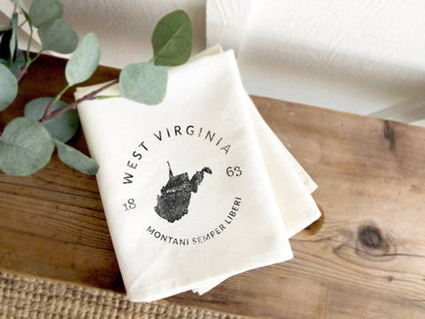 West Virginia State Badge & Motto Tea Towel