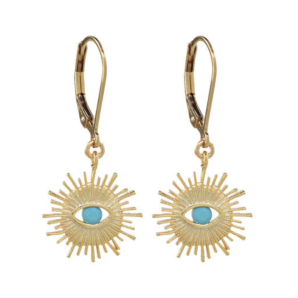 Lever Back Stone Eye Earrings