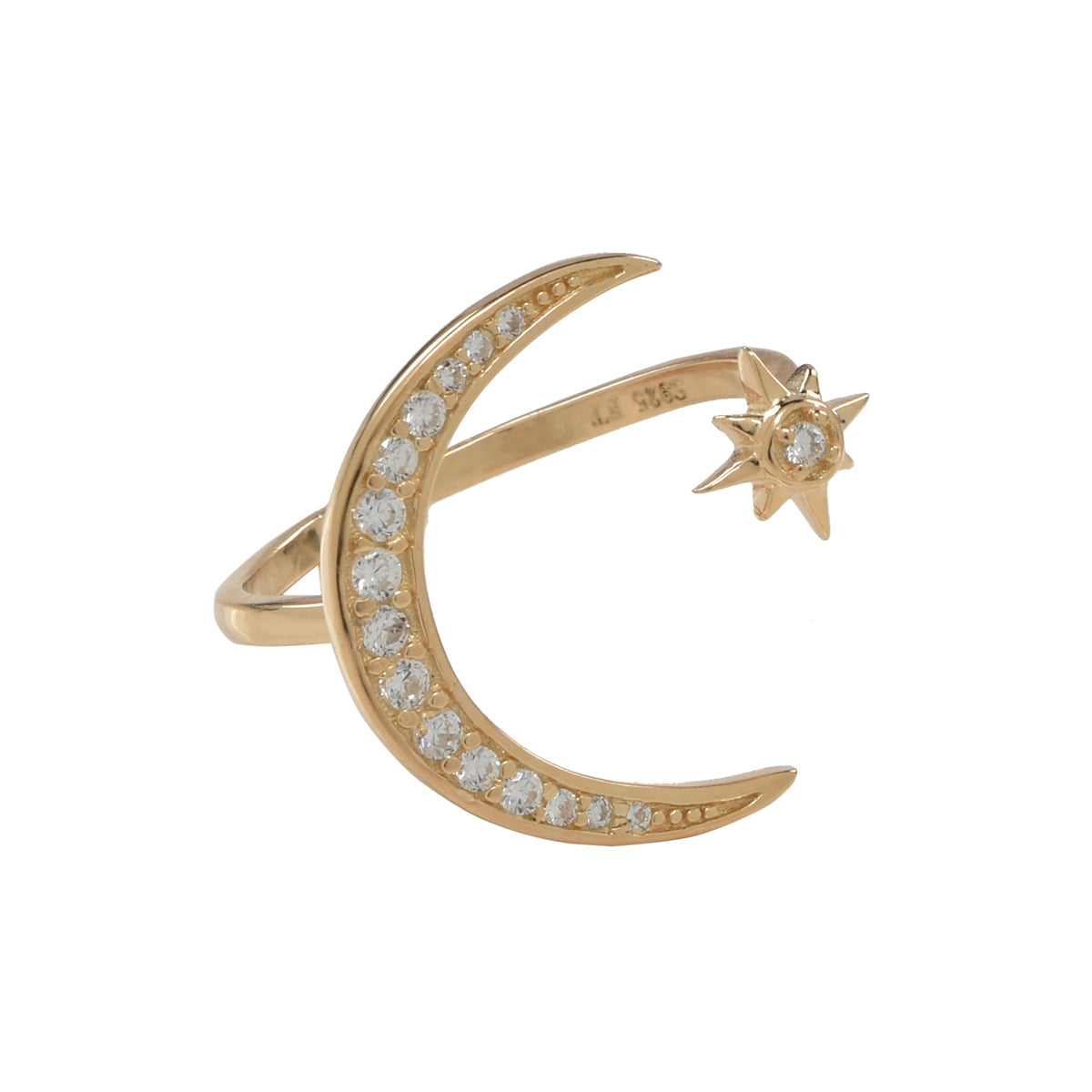 Large CZ Moon / Star Adjustable Ring