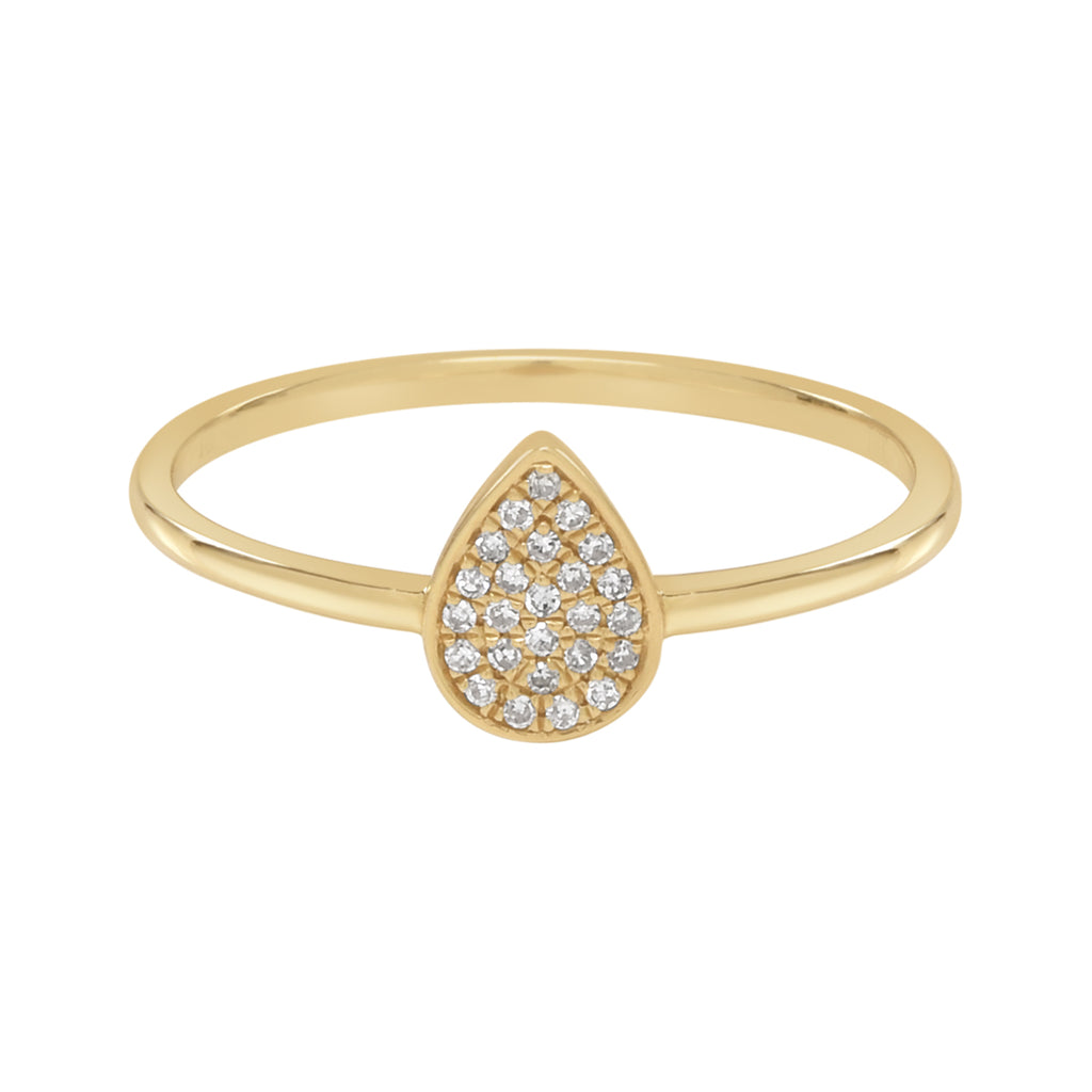 14K Teardrop Diamond Ring