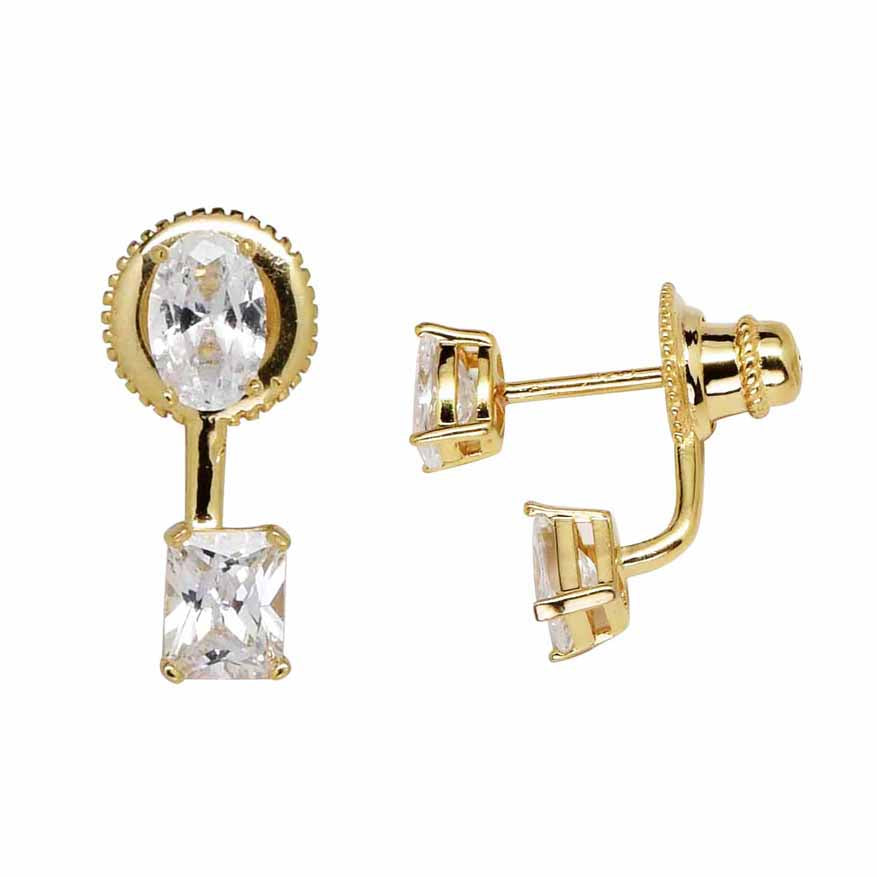 Oval / Square CZ Ear Jacket