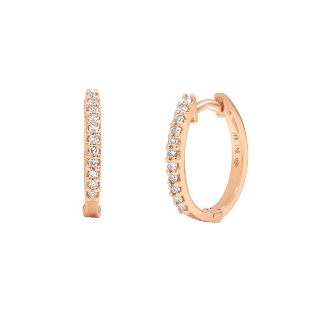 18k Diamond Huggie Hoops